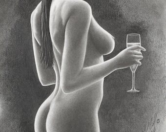 "Giclee fine art print from original pencil drawing ""Champagne"", nude pencil drawing, nude woman, nude art, pretty woman, naked woman"