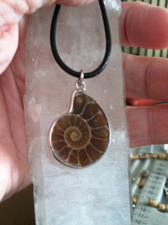 AMMONITE Fossil Pendant on black or brown leather, adjustable, Lunar and Solar Charged, Sedona, Vortex,Reiki charged, Customizable