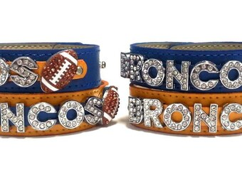 Denver inspired Football Rhinestone Adjustable Snap Bracelet