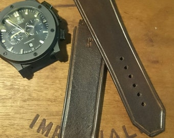Custom made vintage look leather watch strap