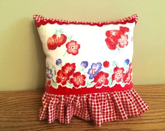 23-10-15 Vintage Red Floral and Plaid Pillow