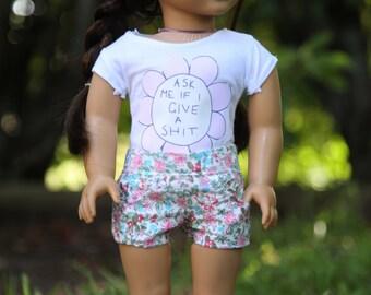 Ask me flower AG doll shirt