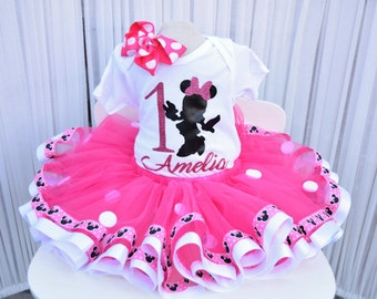 Pink Minnie Mouse Tutu - Minnie Tutu - Birthday Tutu - Pink Tutu - First Birthday Tutu