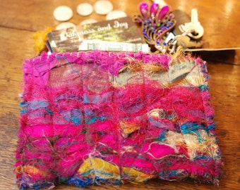 Zipper Tea Pouch/Wallet--made from recycled silk sari ribbon