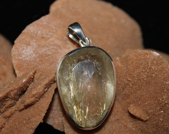 Rutilated Faceted Quartz in Sterling Silver Pendant P11A