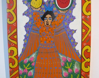 Mexican Folk Art - Angel with Painted Frame