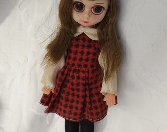 Vintage Keane Era Girl Mod Doll Susie BIG Sad Eyes Like Blythe Brown Hair w Red Dress Black Tights Clothes Hong Kong