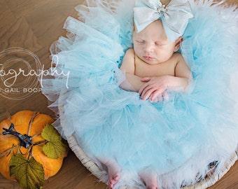 Light Blue Tutu and Bow Headband Set, Light Blue Tutu, Blue Tutu, Cinderella Tutu Newborn Tutu, Photo Prop, Cake Smash, Wedding Tutu