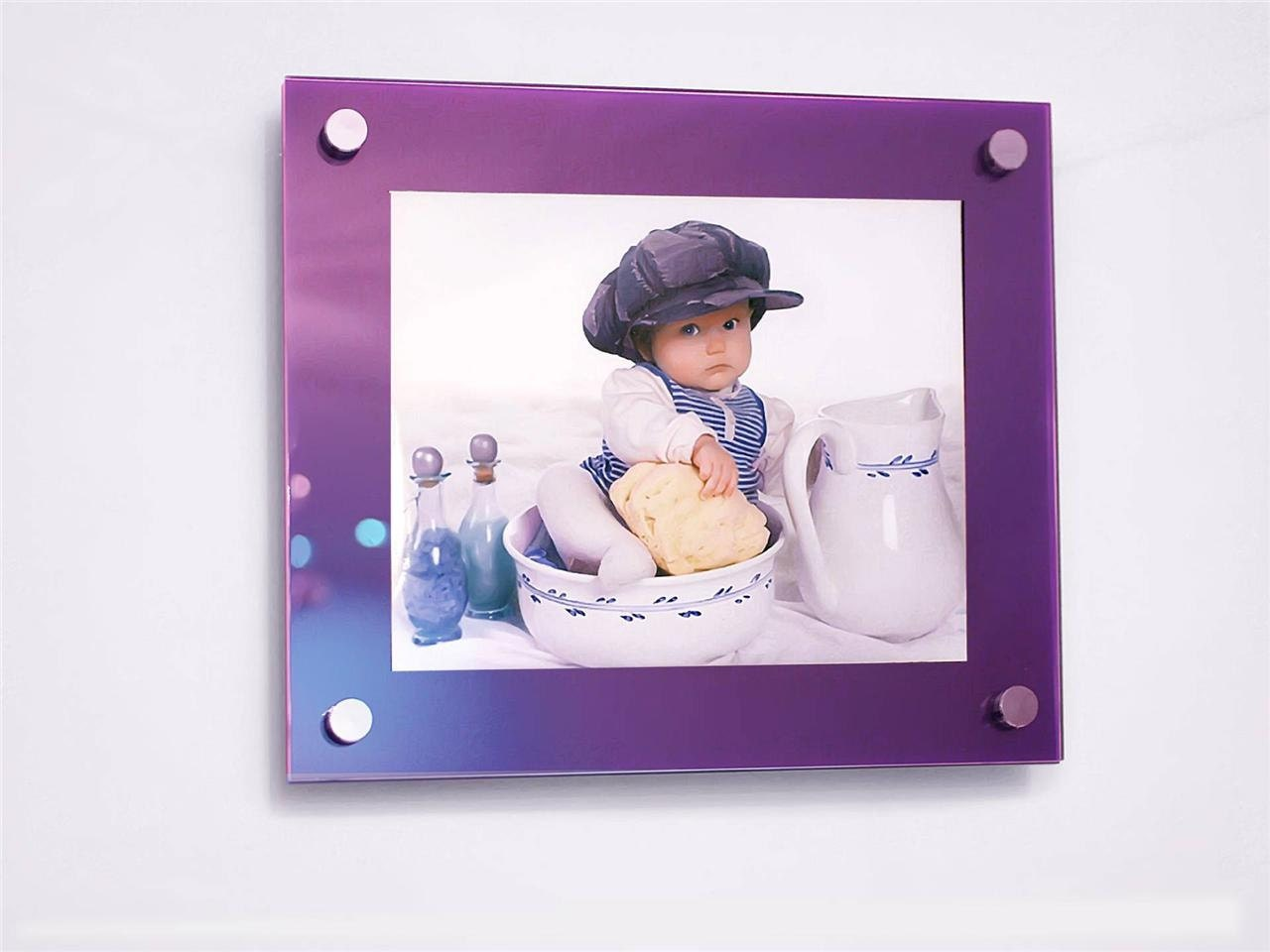 purple floating high gloss cheshire acrylic 16 x 20 40 x 50 cm 20 x 16 picture photo frame. Black Bedroom Furniture Sets. Home Design Ideas