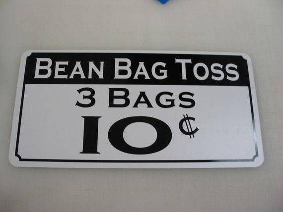 Bean Bag Toss 10 cents Metal Sign Vintage Carnival Fair