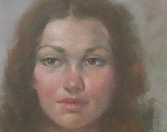Ernest Bendell-Bayly Original Pastel Painting - Portrait Of A Woman