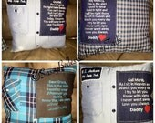 Memory pillow from shirt, memorial grief pillow from loved ones clothing, custom keepsake pillow