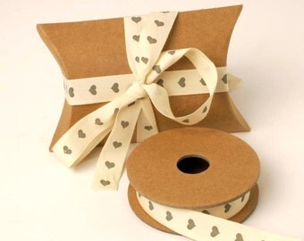 Grey Heart Ribbon, Cream Ribbon, Heart Ribbon, Wedding Decorations, Craft Supplies, Gift Wrapping Ribbon, Wedding Favours, Ribbon, Wedding