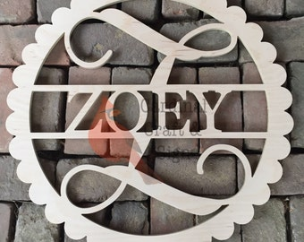 FAST SHIPPING Personalized Scallop Circle Door Hanger with Initial and Name Unfinished