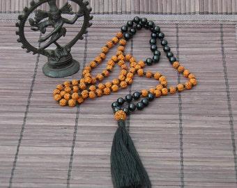 Ebony and Rudraksha mala necklace