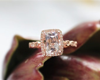 New! 7x9mm Morganite Engagement Ring In 14K Rose Gold Cushion Cut Morganite Diamond Ring Wedding Ring Gemstone Ring Anniversary Gift For Her