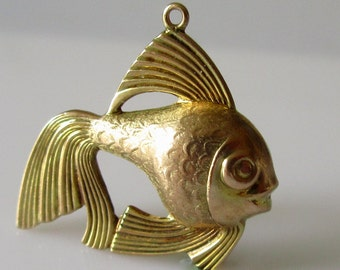 Large 9ct Gold Angel Fish Hollow Charm.