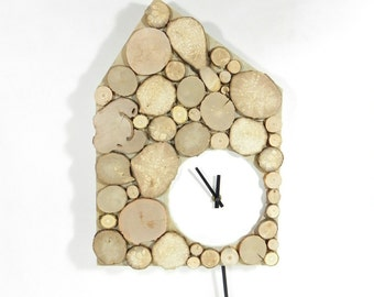 Wall clock, pendulum wall clock with pendulum, natural and white wooden, handmade