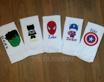 Super Hero Burp Cloth-Burp Cloths-Super Hero-Baby Shower Gift-Each Burp Cloth is Sold Separatley