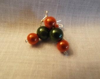 Orange and Green Dangle Earrings
