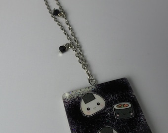 Resin necklace with Japanese food