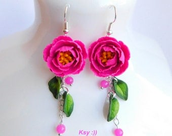 Peony earrings Fuchsia peony Long summer earrings Flower jewelry Floral earrings Gift for her Handmade polymer jewelry Pink earrings