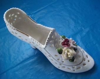 Porcelain High Heel Shoe Slipper Roses Reticulated Pierced Potpourri Holder Vase