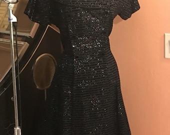 Glitter 50s Vintage Cocktail Dress- portrait collar, velvet stripes, double breasted Cocktail VLV Large