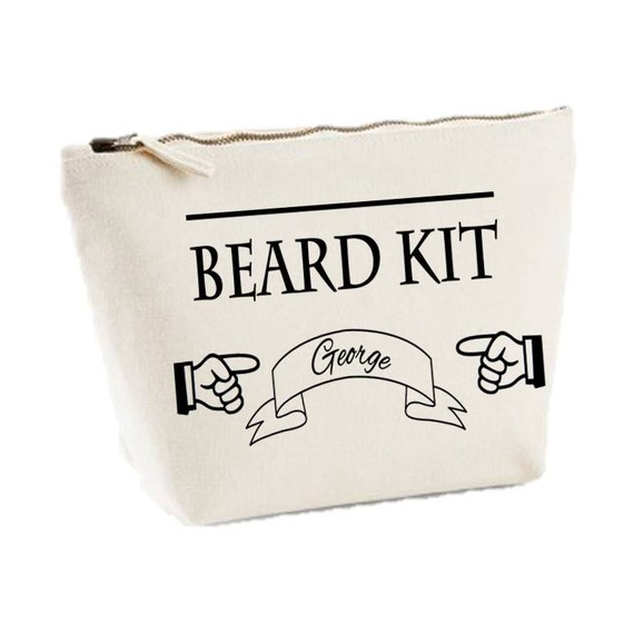 items similar to personalised beard kit canvas mens wash bag shaving kit gift toiletry case on etsy. Black Bedroom Furniture Sets. Home Design Ideas