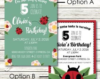Cute Lady Bug Birthday Party Invitation