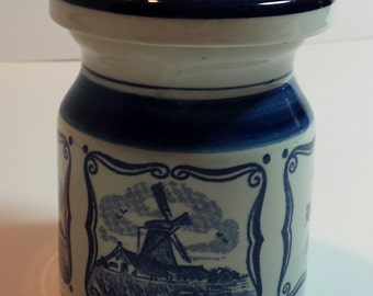 Delft Blue Mustard Pot with lid, 't Delftsche Huys of Waddinxveen, Netherlands, Porcelain, Echte Hollandse Mosterd