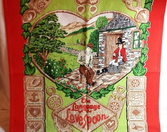 Vintage The Language of the Lovespoon Tea Towel, 1959, Welsh, Meaning of carved symbols, British made, Cotton