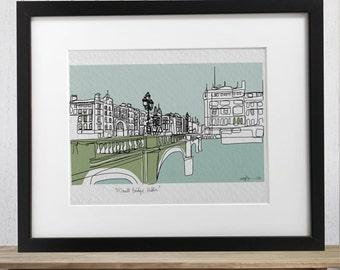 Dublin O'Connell Bridge doodle print