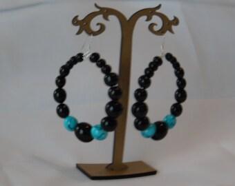 Black and Aqua Beaded Hoop Earrings