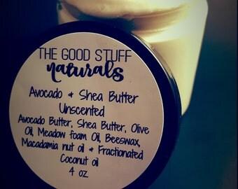 Avocado Butter & Organic Shea Butter- Body Butter- Skin Care - Whipped body Butter- Organic Whipped Body-Butter- Organic beeswax