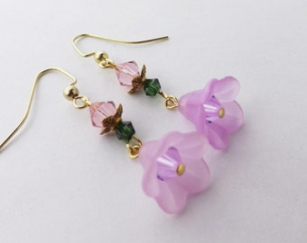Swarovski crystal cherry blossom saukra earrings