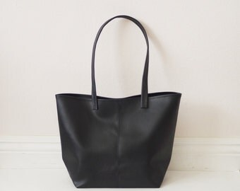 Small soft leather tote handbag