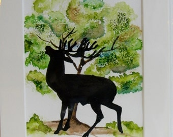 Original ink and watercolour stag