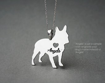 FRENCH BULLDOG NAME Necklace - French Bulldog Name Jewelry - Personalised Necklace - Dog breed Necklace - Dog Necklaces
