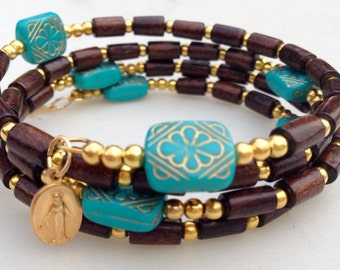 Turquoise and brown Boho chic rosary wrap bracelet