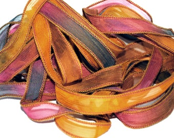 Hand dyed silk ribbon crinkle
