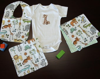 Baby Gift Set (1 Onesie, 1 Burp Cloth, 1 Bib, 1 Washer)