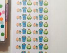 Cute Kawaii trash day stickers