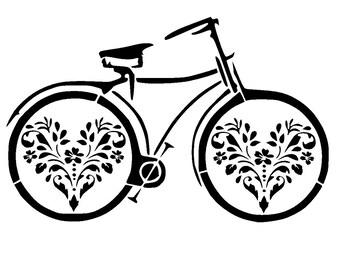 """11.7/16.5 """" vintage bicycle stencil 2. A3"""