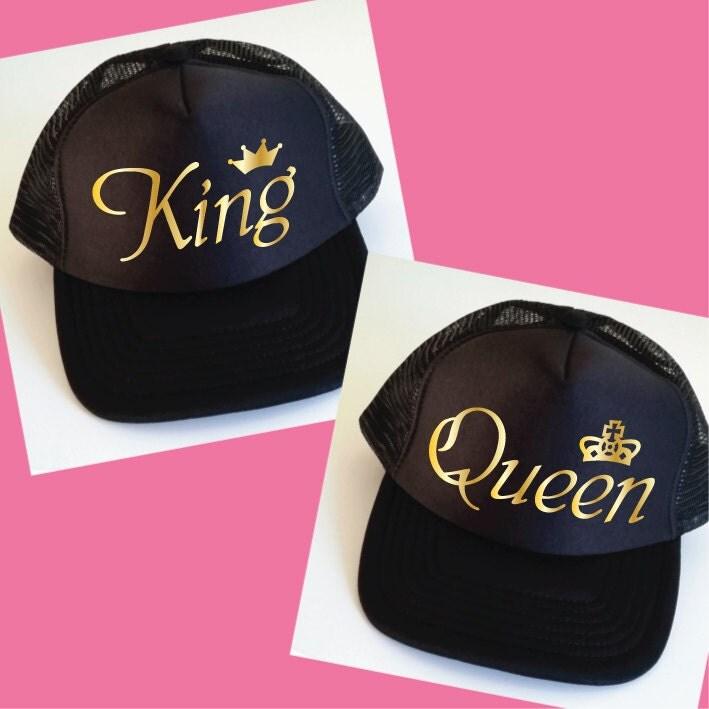 King And Queen Trucker Hats Set Of Wedding Caps By Sopinkuk