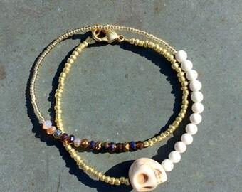 White skull double wrap bracelet