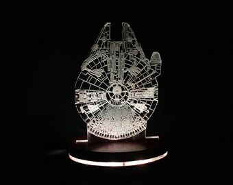 Star Wars Millennium Falcon Lamp inspired Acrylic Light, Colour Changing LED Desk Lamp, Man Cave, Illuminated LED Faux Hologram,