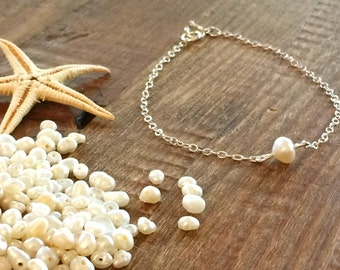 Pearl Bracelet Sterling Silver Bracelet Silver Gold or Rose Gold Chain Minimalist Bridal Gift for Her Bridesmaid Delicate Anklet Layering