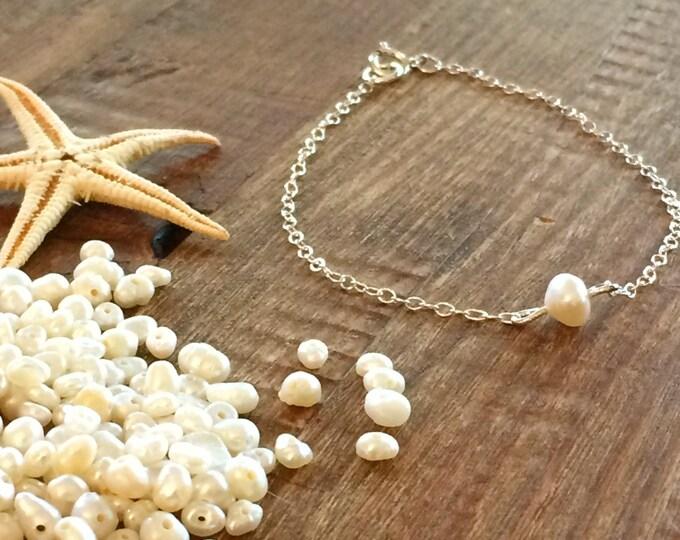 Pearl Bracelet Anklet Inspirational Bracelet Boho Beach Wedding Bridal Sterling Silver Gold Rose Gold Chain Beach Bridesmaids Gift for Her