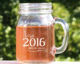 13 Mason Jar Glasses, Wedding Mason Jars,  Monogrammed Bridal Party Gifts, Rustic Wedding Centerpiece, Wedding Decor, Wedding Party
